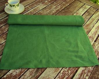 Dark Green Linen Table Runner, Handmade Linen Table Cloth, Wedding Decor, 100% Pure Flax Linen, Mitered Corners