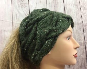 Knitted Cowl Neckwarmer Scarf | Knit Headband Ponytail Hat | Green Tweed | Washable Wool Blend | READY TO SHIP