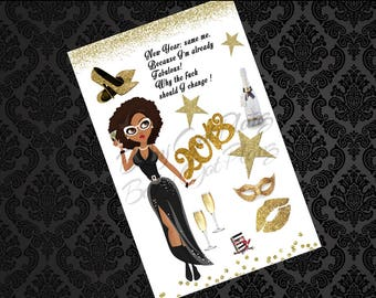 Gold New Years Lady