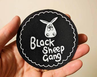 Black Sheep Gang - Screen printed sew on patch, Sheep gifts, Patches, Sheep patch, Animal patch, Cute gifts, Eweniverse