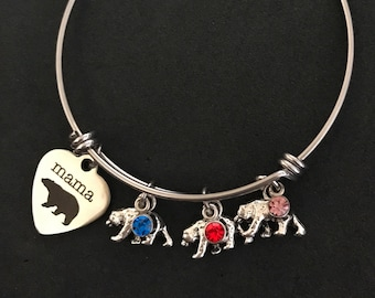 Personalized Mama Bear Bangle Personalized Mama Bear Bracelet