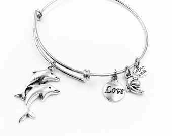 Dolphin Couple Love Baby Dolphin Wire Bangle Bracelet 2 Loops Wrapped with Charms Silver Tone