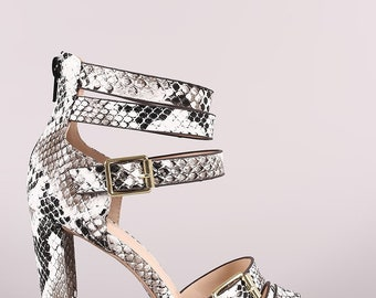 Snake Strappy Buckled Open Toe Thick Heel