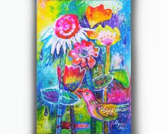 Bird and Flowers Original Acryliic Painting, Ooak Folk Art, Whimsical Flower Art, Colorful Wall Art, Small Canvas Painting, Nursery Art