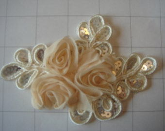 "Cream Flower and Sequins Braided Applique 4 1/2"" by 3 1/4"""