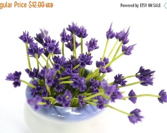 Miniature Lavender Polymer Clay Flowers Supplies 12 bunches