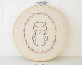 Little friendly Owl // Hand Embroidery PDF Pattern - Instand Digital Download // Hand Embroidery Design // Nursery Art // Needlecraft design