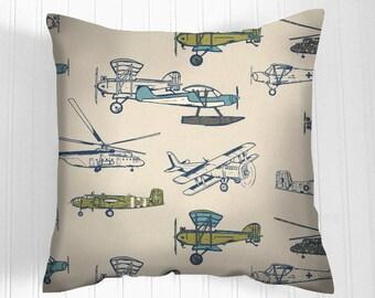 Boys Pillow, Blue Pillow Cover,  Airplane  pillow cover, cushion, decorative throw pillow, decorative pillow, accent pillow, 18x18