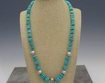 Turquoise Silver and Carnelian Necklace
