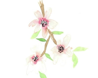 Cherry Blossom Branch Watercolor Print