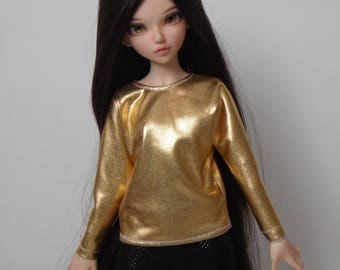 Liquid gold batwing blouse for minifee and other slim msd dolls