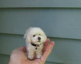 Needle Felting Dog Kit curly fur /Diy Craft Kit Deluxe/miniature felt/Felted white Poseable dog/Bonus nose/ Bed wool/foam