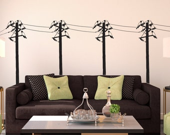 Power Lines Posts Row Sihlouette - Wall Decal Custom Vinyl Art Stickers