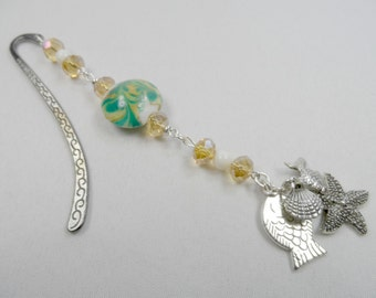 Gunmetal Beaded Shepherd's Hook Bookmark with Ocean Charms, Focal Lampwork Bead with Faceted Crystals and Mother of Pearl