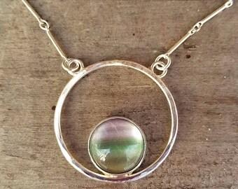 Beautiful Fluorite Minimalist Pendant Sterling Silver Artistic Necklace Custom Length Chain