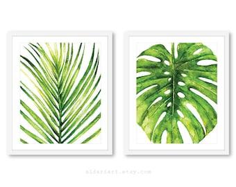 Palm Leaf Print   Monstera Leaf Print   Tropical Leaf Wall Art   Monstera Wall  Art   Tropical Wall Art   Tropical Decor   Set Of 2 Prints