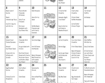 Low Carb April Monthly Meal Plan with Grocery List