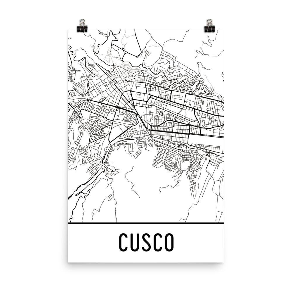 Cusco Karte Kunstdruck Cusco Peru Kunst Poster Cusco