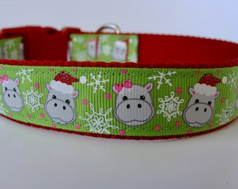 Hippopotamus Christmas Dog Collar - Ready to Ship!