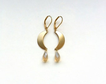 Swarovski Crystal Briolette Dangle Earrings, Triangle / Crescent Raw Brass Connector, Choose your style