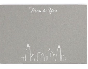 Chicago Skyline Thank You Cards {dove grey with white foil}