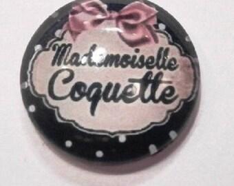 mademoiselle coquette (black) 25mm cabochon