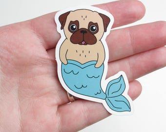 Merpug Sticker   Pug Mermaid Sticker   Vinyl Outdoor Sticker   Pug Gifts   Pug Lover   Nais Products