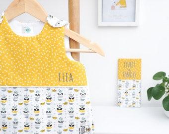 "Sleeping bag ""My sweet Oslo"" grey, mustard yellow and mint Green"