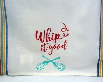 Whip It Good Hand Towel Chalk Couture Ink Cotton Tea Towel Red Yellow Blue Green Retro Stripe Kitchen Towel