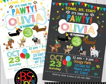 Puppy Party Invitation , Puppy Birthday Party , Puppy Party Invitation, Dog party, puppy birthday invitation