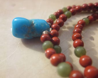 Sleeping Beauty Turquoise red Jasper Nephrite NECKLACE for a child