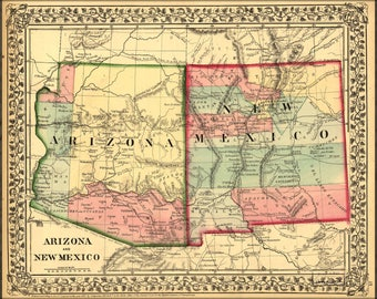 Poster, Many Sizes Available; Map Of Arizona And New Mexico 1867