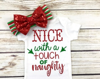 Nice With a Touch of Naughty Baby Girl Newborn Toddler Christmas Outfit