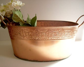 Large Vintage Copper Tub, Decorative Planter, Double Handles, Rustic Patina, Paris Apartment Decor