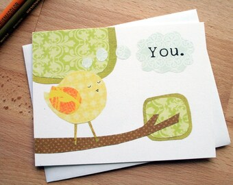 CARD: I Am Hard At Work Thinking of You, blank card, thoughtful, sweet