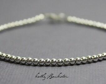Silver Bead Bracelet, Small 2.5 mm Sterling Silver Bead Bracelet, Silver Beaded Bracelets, Silver Bracelet, Sterling Bracelet, Bead Bracelet