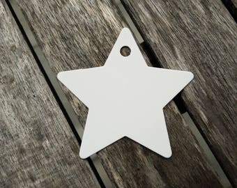 Star White gift Tags pendant wedding anniversary 25 pieces 6 cm