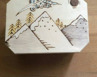 Handcrafted Tea box with 6 hand blended teabags of your choice. Mountain design, herbal tea. Gift for all