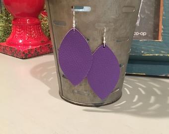Leather Leaf Earring in Purple