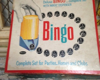 1957 Whitman Deluxe BINGO Set with Magic Dispenser- For Parties, Homes, Clubs