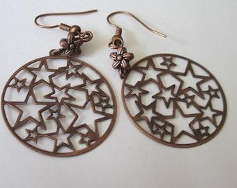 Filigree Star Earrings, Antiqued Copper, Star Earrings, Lightweight Dangle Earrings, Round Shaped, Star Jewelry