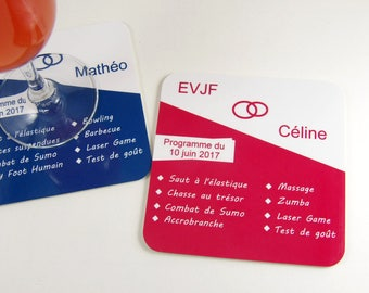 Souvenir program bachelorette party coasters personalized coaster gift table decor bachelorette party
