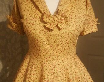 Handmade floral vintage style circle dress