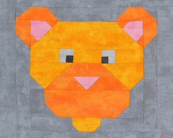 Female Lion Quilt Block Pattern, PDF, Instant Download, modern patchwork, jungle, African, animal, cute