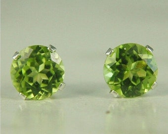 MothersDaySale Peridot Stud Earrings Sterling Silver 6mm Round 2ctw Natural Untreated