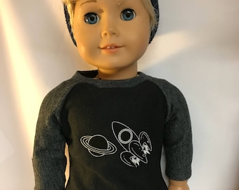 Astronomy shirt for 18 inch dolls galaxy rockets astronaut 18 inch boy doll clothes