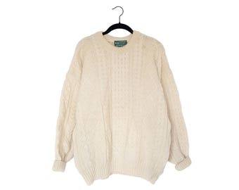 Vintage Old River 100% Pure Wool Natural Wave Cable Knit Fisherman Sweater, Made in Ireland - Large