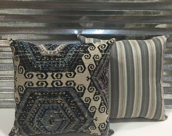 Pair of 20x20 Mayan Navy Decorator Pillows