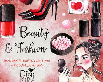 Watercolor Beauty Clipart, Hand Painted Watercolor, Make Up Clip art, Cosmetic Watercolor, Watercolor Clip art, Planners Supplies