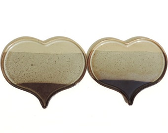 French Vintage Plates/French Vintage Heart Shaped Plates Set Of 2/Vintage Plates/Stoneware Plates/Pair Of Heart Shaped Stoneware Plates